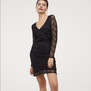 H&M Fitted Ruched Black Lace Dress